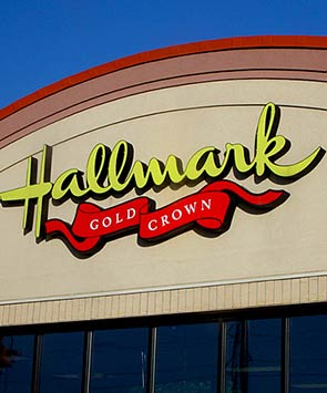 A new sign for the Hallmark storefront